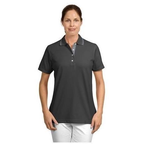 Port Authority Signature Ladies Rapid Dry Contrast Trim Polo Shirt Medium - Charcoal/Steel Grey