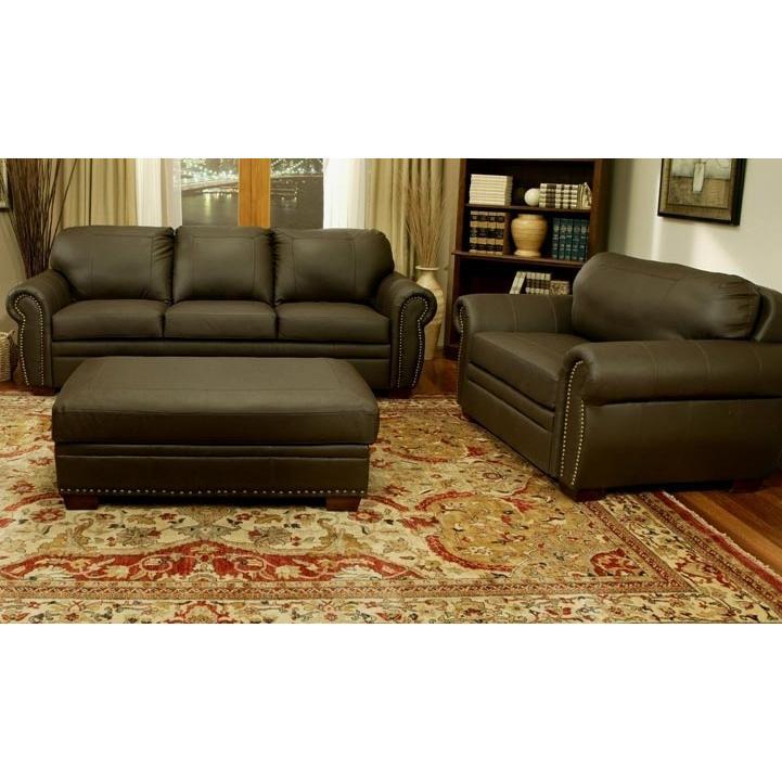 Abbyson Living Signature Premium Italian Leather Oversized Sofa Chair And Ottoman Set - CI-D210-BRN-3/1/4