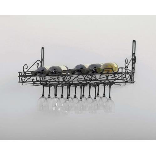 Concept Housewares CW40701 Matte Black Metal Bottle & Glass Wall Wine Rack