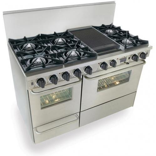 FiveStar Ranges TTN525-7BW 48 Inch Dual-Fuel Self-Cleaning Convection Range - Stainless Steel