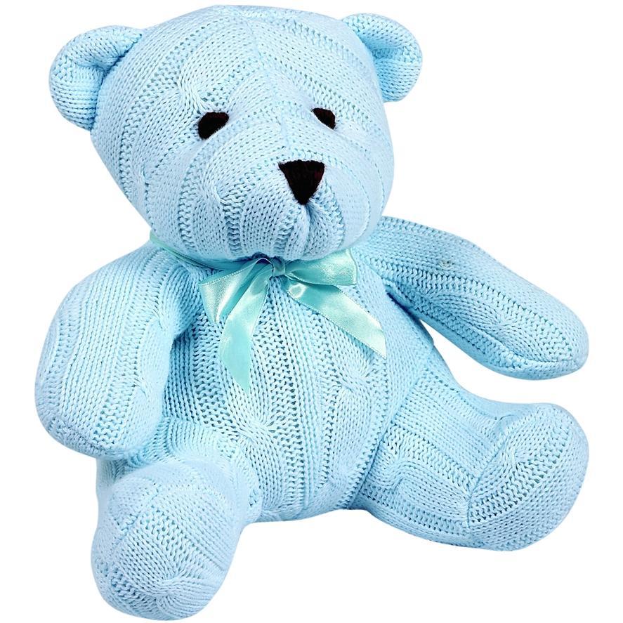 Elegant Baby Knit Teddy Bear - Blue Cable Knit