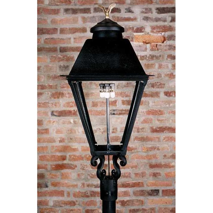 Gaslite America GL3000 Cast Aluminum Manual Ignition Natural Gas Light With Open Flame Burner For Post Mount