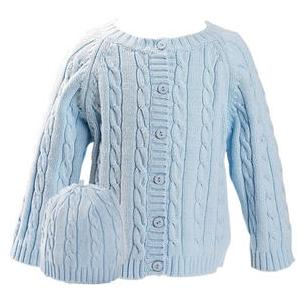 Elegant Baby Cable Knit Sweater And Hanger Set 6 Months - Blue