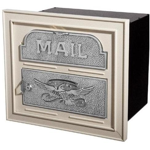 Classic Series High Security Locking Column Mailbox Faceplate - Almond W/ Satin Nickel