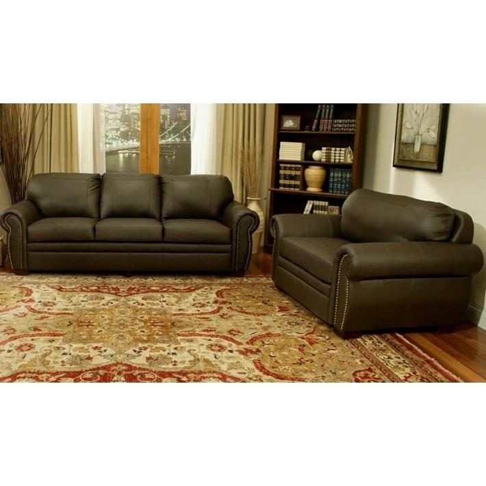 Abbyson Living Signature Premium Italian Leather Oversized Sofa And Chair Set - CI-D210-BRN-3/1