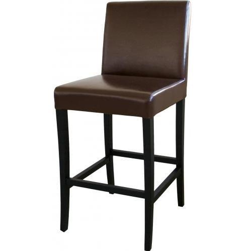 Quinn Leather Barstool In Dark Brown