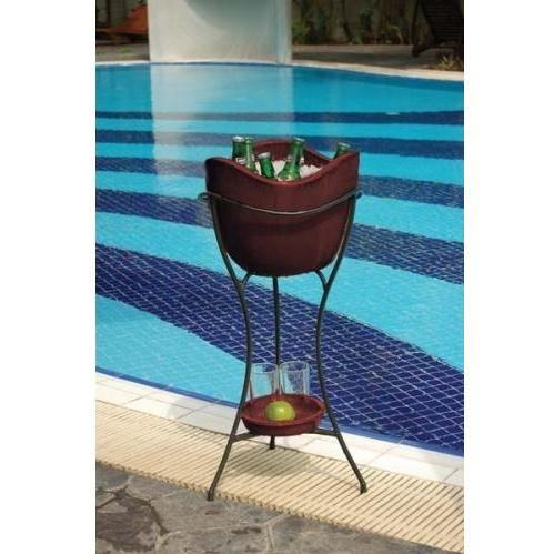 Alfresco Home Olas Outdoor Beverage Cooler With Shelf And Stand - Cognac