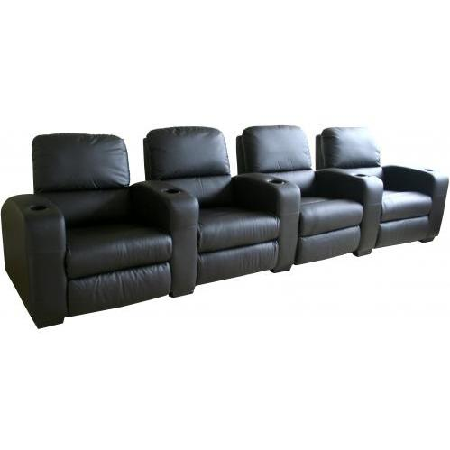 Tremain Leather Home Theater Recliner Set Of Four InBlack