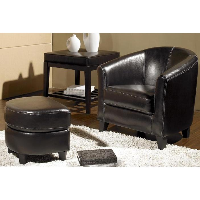 Abbyson Living Ellis Leather Armchair And Ottoman Set - Dark Brown LI-HT268-2PC