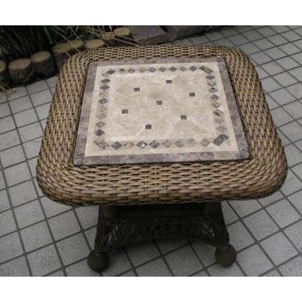 Outdoor GreatRoom Company Wicker End Table W/ Stone Top