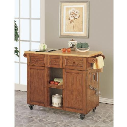 Powell Furniture - Medium Oak 3-Drawer Kitchen Butler - 534-477
