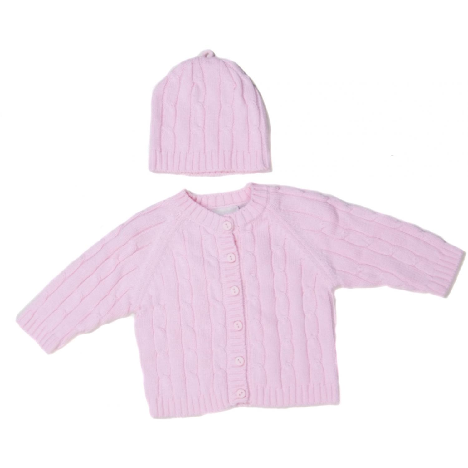Elegant Baby Cable Knit Sweater Box Set 12 Months - Pink