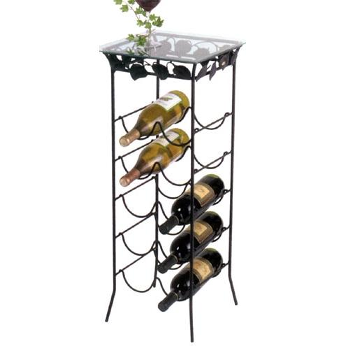 Dover Wine Rack Pedestal with Glass Top - 1522-1