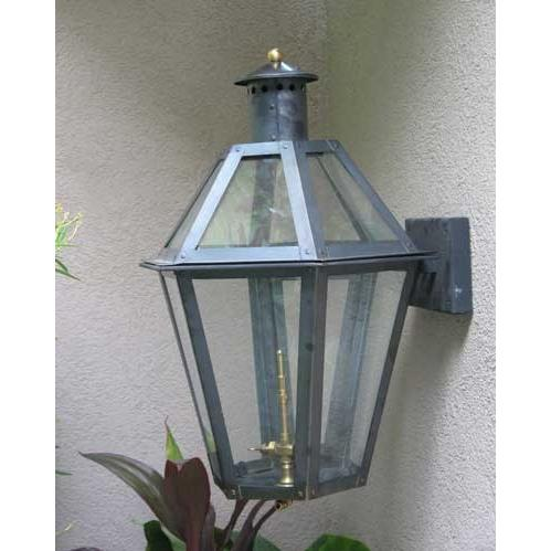 Regency GL23 Poydras Natural Gas Light With Open Flame Burner And Electronic Ignition On Decorative Corner Wall Mount