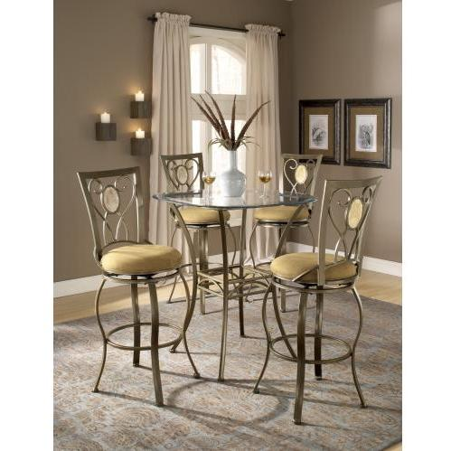 Hillsdale Brookside 5 Piece Bar Height Bistro Table Set With Brookside Oval Stools - 4815PTBSOV5