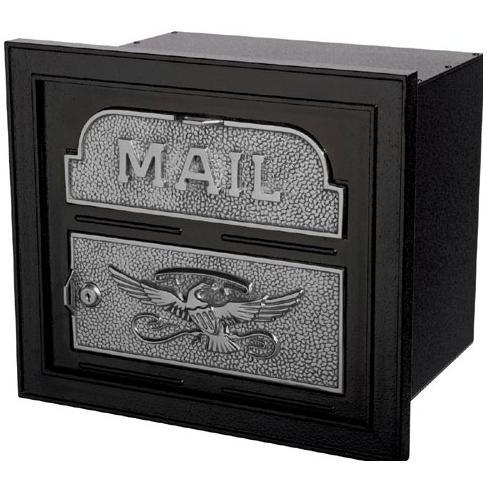 Classic Series High Security Locking Column Mailbox Faceplate - Black W/ Satin Nickel