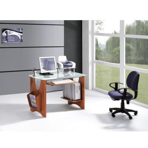 International Caravan Glass Top Desk With Side Mag Rack & CPU Holder Teak - G-120/TK