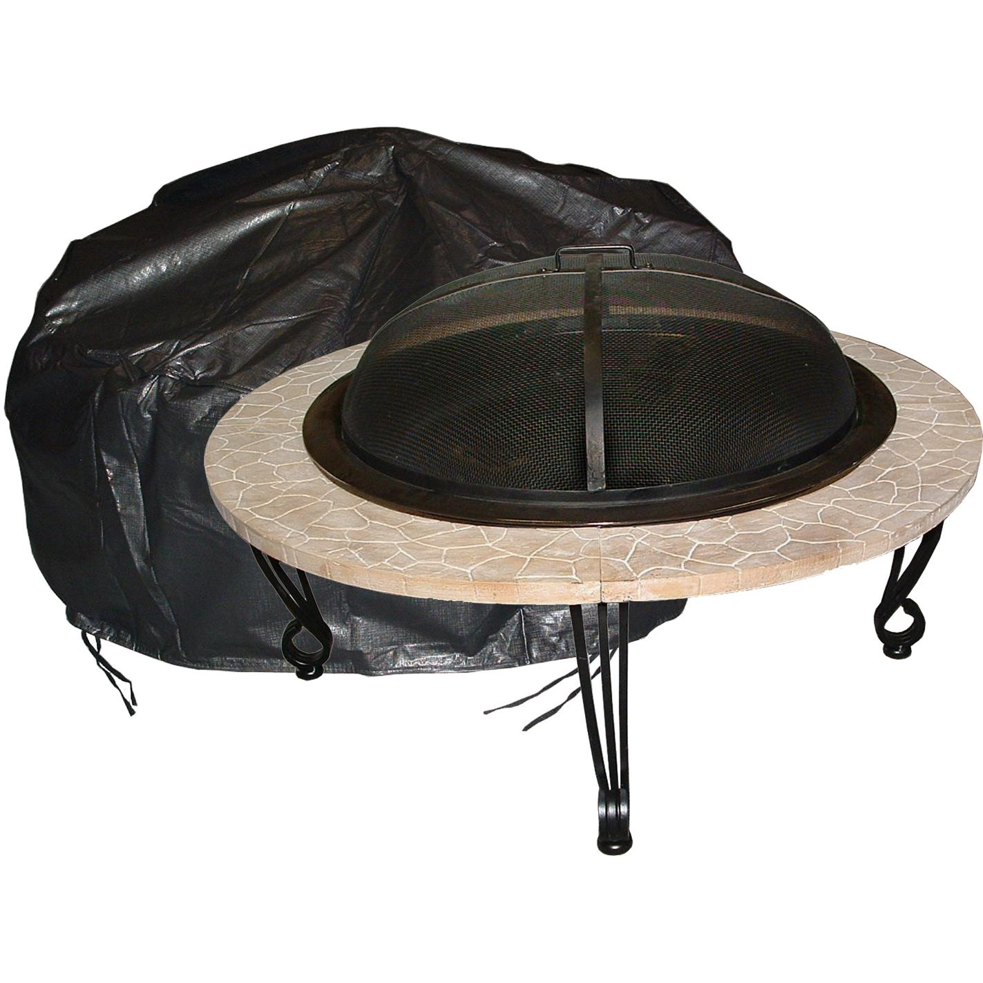 Fire Sense Large Outdoor Round Fire Pit Felt-Lined Vinyl Cover