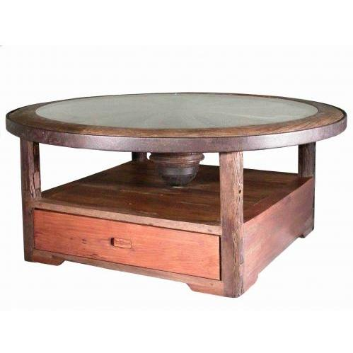 Groovy Stuff Teak Wood Desperado Coffee Table With Glass Top - TF-501-G