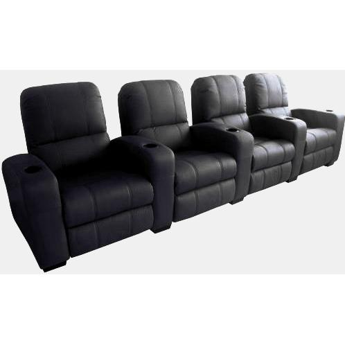 Treacy Leather Home Theater Recliner Set Of Four InBlack
