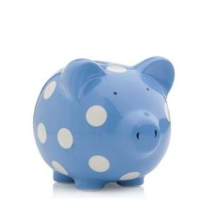 Elegant Baby Classic Piggy Bank - Bright Blue/White Dot