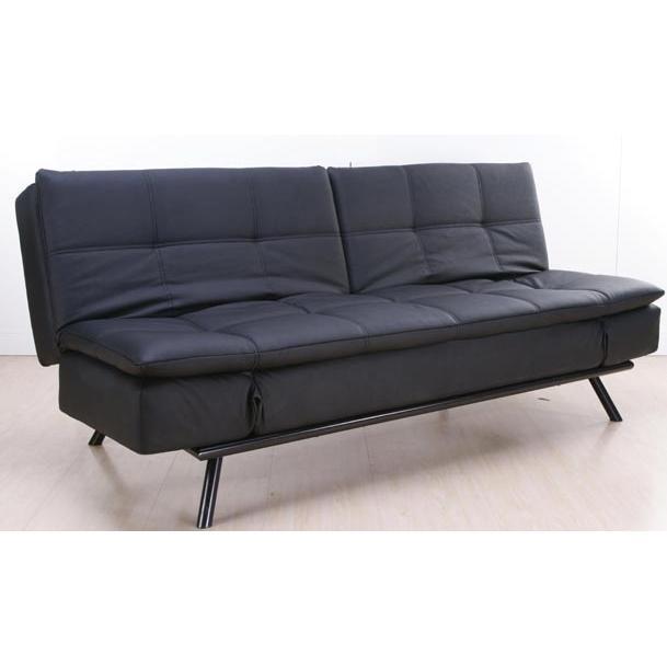 Abbyson Living Alpine Leather Convertible Sofa - Black - AD-100L