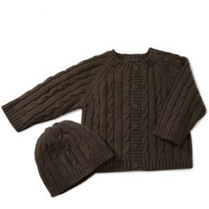 Elegant Baby Cable Knit Sweater And Hanger Set 6 Months - Chocolate Brown