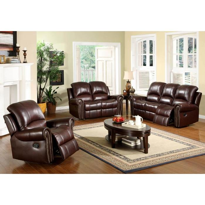 Abbyson Living Broadway Reclining Italian Leather Sofa And Chair Set - CH-8811-BRG-3/1