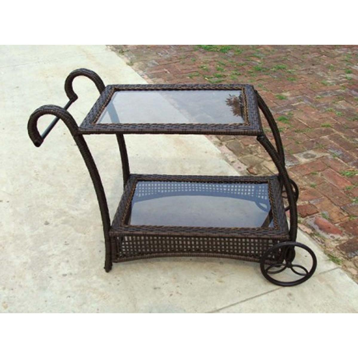 Oakland Living Resin Wicker Service Cart - Coffee