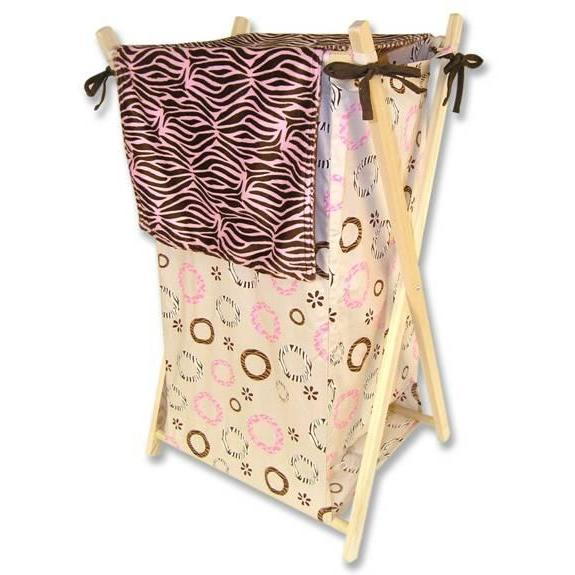 Trend Lab Hamper And Liner Set - Sweet Safari Pink