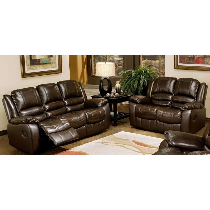 Abbyson Living Brownstone Reclining Leather Sofa And Loveseat Set - CH-8801-BRN-3/2