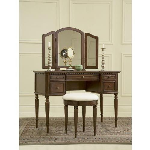 Powell Furniture - Warm Cherry Vanity, Mirror & Bench - 429-290