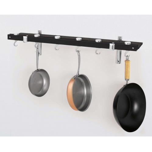 Concept Housewares CP40226 Dark Grey Wood Innovative 36-Inch Dual Track Wall Kitchen Rack