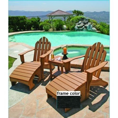 Eagle One Recycled Plastic Adirondack Chair, Foot Stool And Lexington End Table - Black