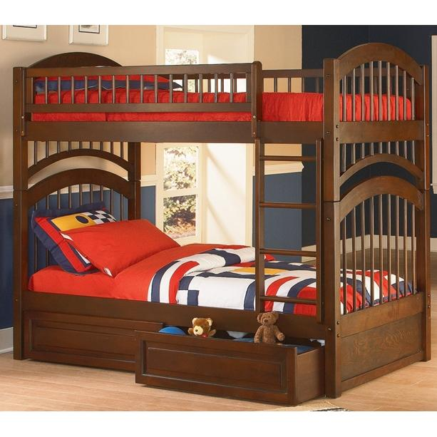 Atlantic Furniture 2030400 Windsor Twin / Twin Bunk Beds Antique Walnut