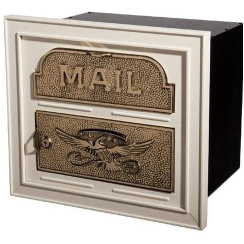Classic Series High Security Locking Column Mailbox Faceplate - Almond W/ Antique Bronze