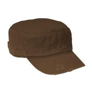 District Threads Distressed Military Hat - Chocolate Brown