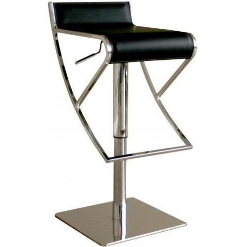 Rowin Low-back Leather Adjustable Barstool In Black