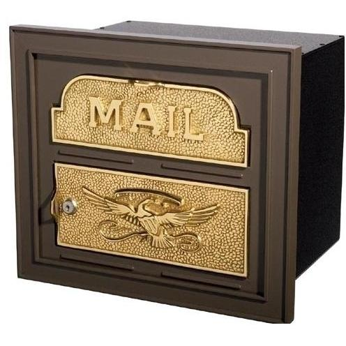 Classic Series High Security Locking Column Mailbox Faceplate - Bronze W/ Polished Brass