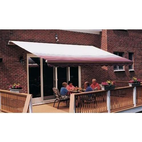 Sunsetter Pro Motorized Awning (12 Ft / Burgundy Stripe) With Traditional Laminated Fabric With Left Mounted Moter And Soffit Bracket