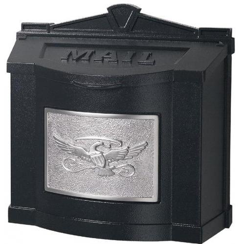 Wall Mount Series Mailbox W/ Eagle Accent - Black W/ Satin Nickel
