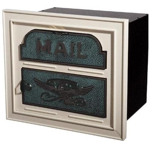 Classic Series High Security Locking Column Mailbox Faceplate - Almond W/ Verde Brass