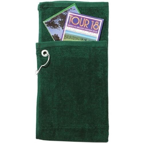 Cobra Caps Bi-Fold Golf Towel With Pocket - Dark Green