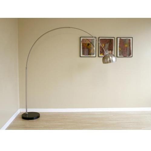 Slany Flat Marble Base Arched Floor Lamp In Black