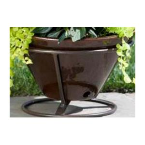 Alfresco Home Table Top Glazed Planter On Iron Stand - Cognac