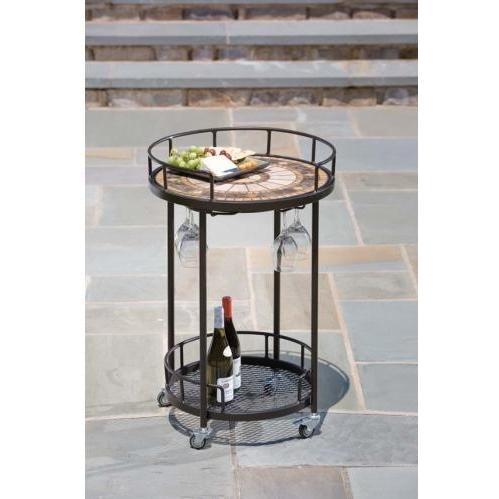 Alfresco Home Compass Outdoor Serving Cart - 20 Inch Round