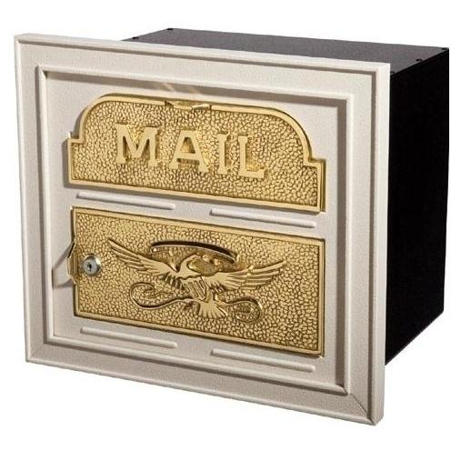 Classic Series High Security Locking Column Mailbox Faceplate - Almond W/ Polished Brass