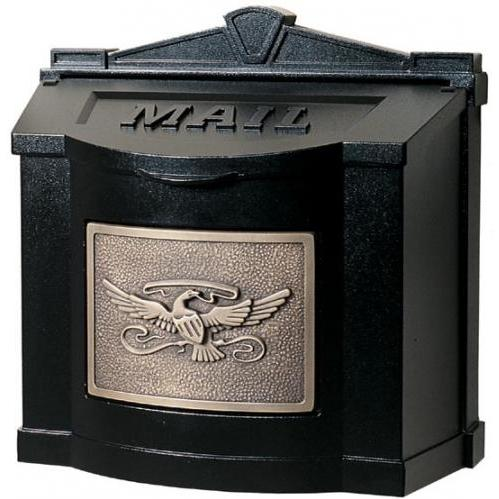 Wall Mount Series Mailbox W/ Eagle Accent - Black W/ Antique Bronze