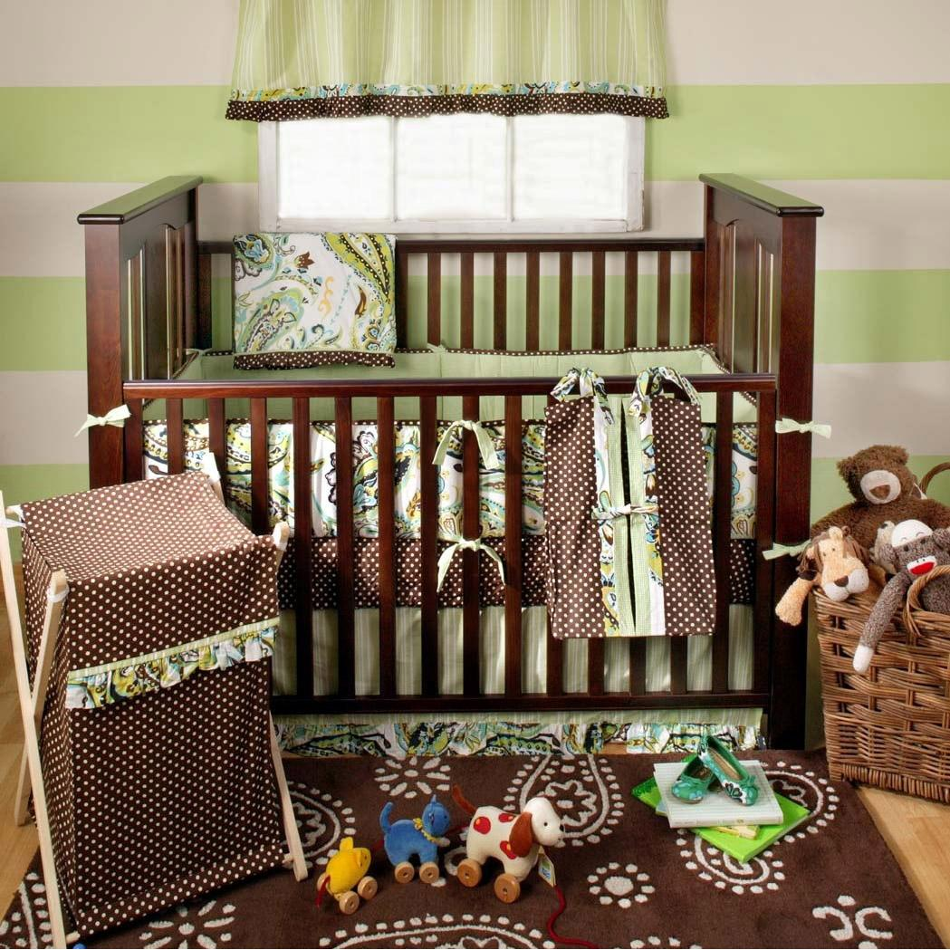 My Baby Sam 4-Piece Crib Bedding Set - Lime Paisley Splash