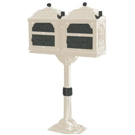 Classic Series Double Mount High Security Locking Mailbox W/ Pedestal - Almond W/ Verde Brass